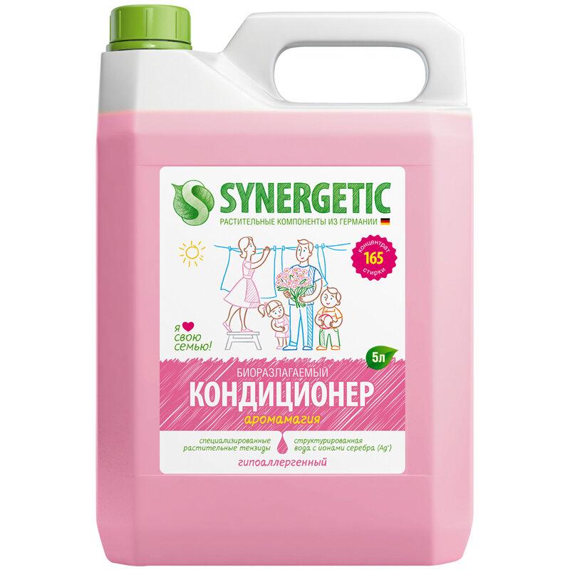 Кондиционер-ополаскиватель для белья Synergetic Аромагия, биоразлаг., гипоаллерг., концентрат, канистра 5 литров