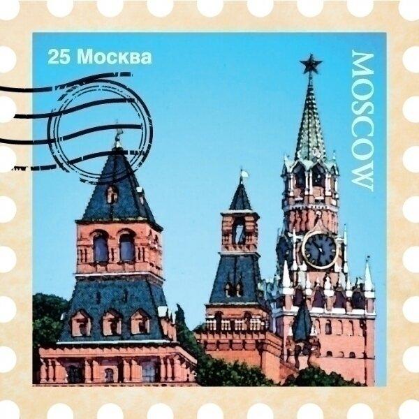Магнит марка Москва N 3 Кремль
