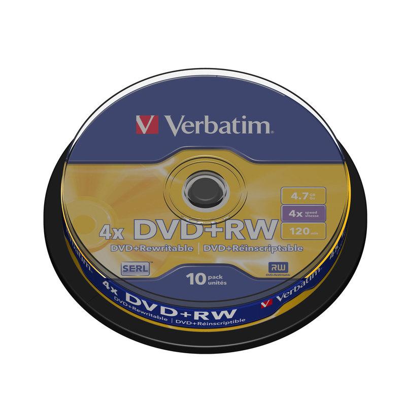 Диск DVD+RW Verbatim 4,7 GB 4x (10 штук в упаковке)