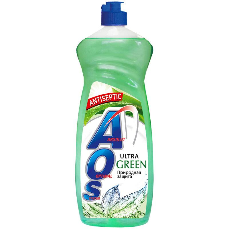 Средство для мытья посуды AOS Ultra Green, 0,9 л