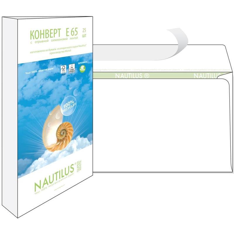 Конверт Nautilus Bong Е65 80 г/кв.м белый стрип 25 штук