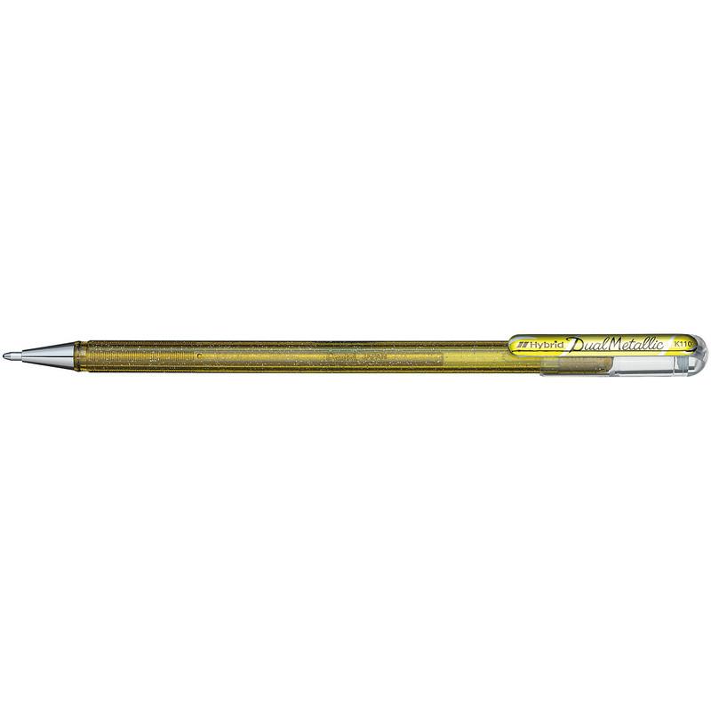 Ручка гелевая Pentel Hibrid Dual Metallic 0.55 мм хамелеон золото, 778519K