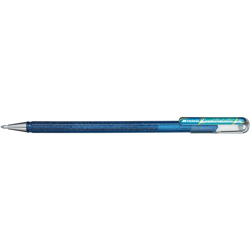 Ручка гелевая Pentel Hibrid Dual Metallic хамелеон синий/зеленый, 778514K