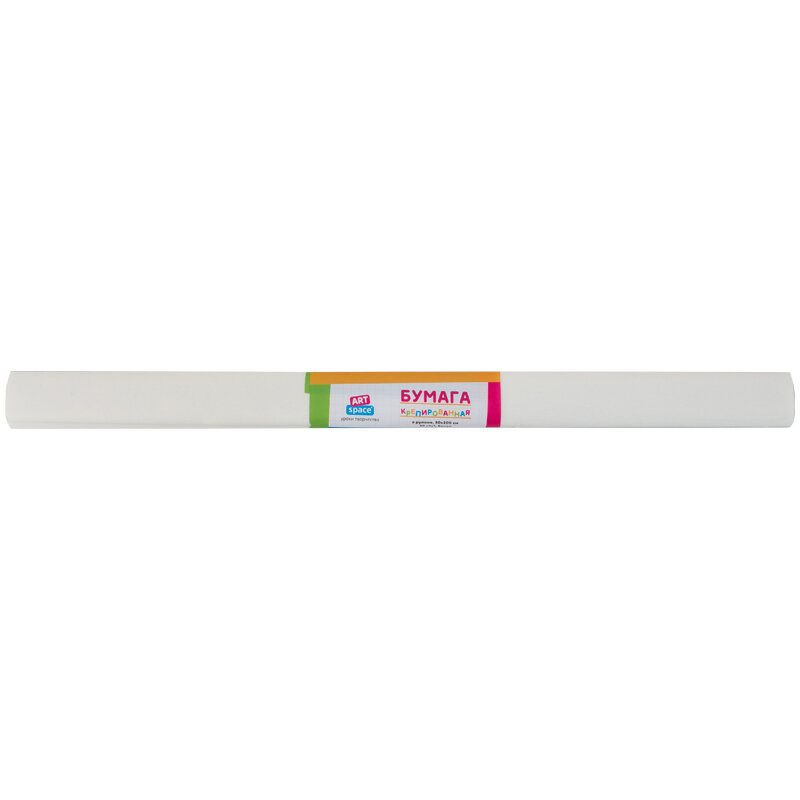 Бумага крепированная ArtSpace, 50*200см, 30г/м2, белая в рулоне, 267824rf