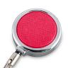 Бейдж вертикальный 104x63 мм с держателем-рулеткой розовый