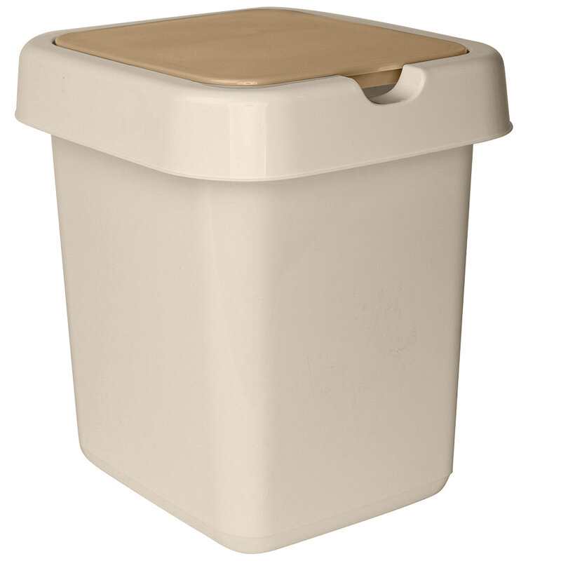 Ведро-контейнер для мусора (урна) Svip Квадра, 25 л, прямоугольное, пластик, кофейного цвета